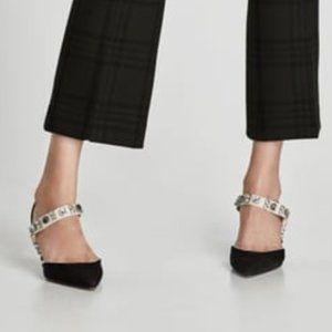 Zara Black Heels with Crystal Straps